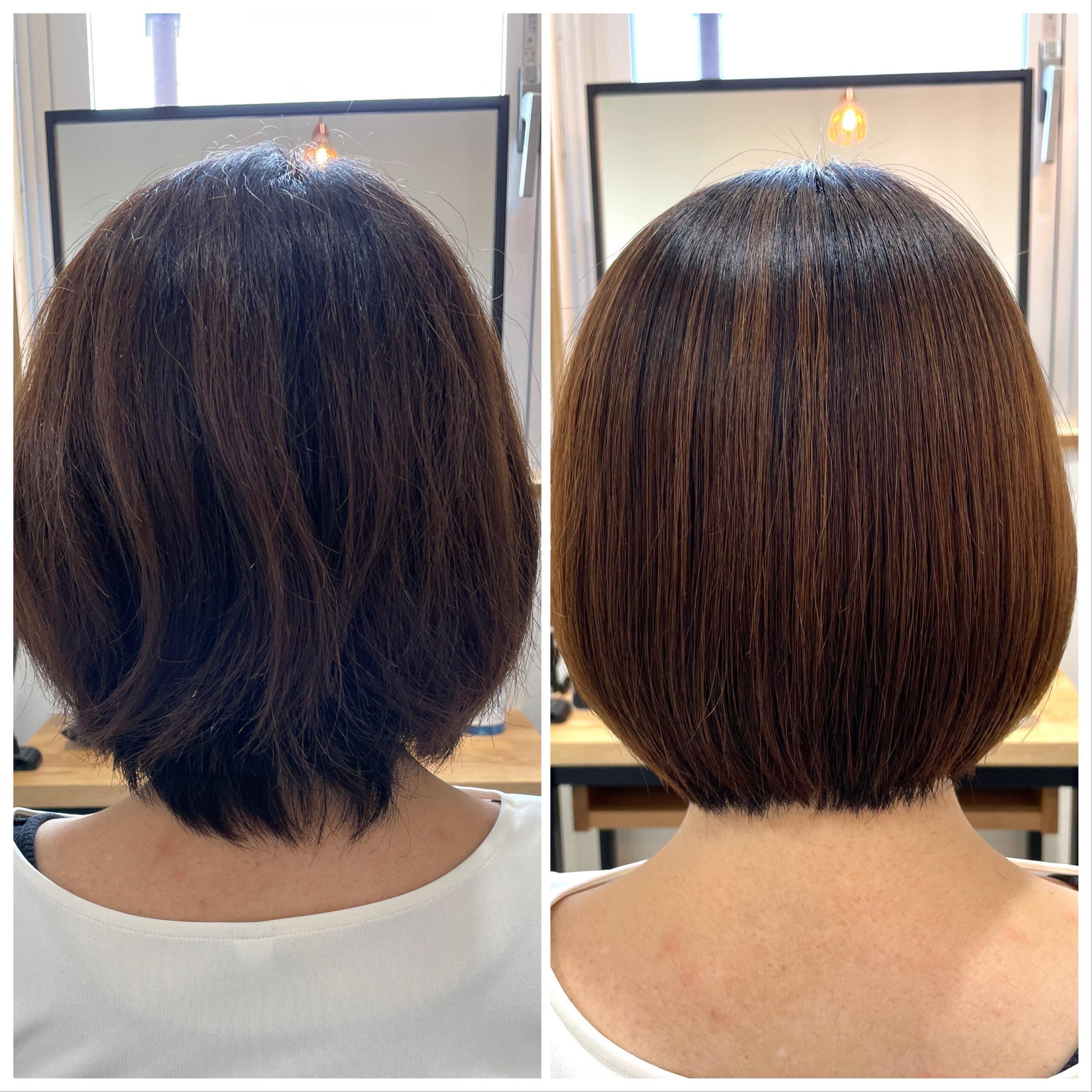大分県別府市 髪質改善の弱酸性ストレートで自然なボブスタイル ビフォーアフター
