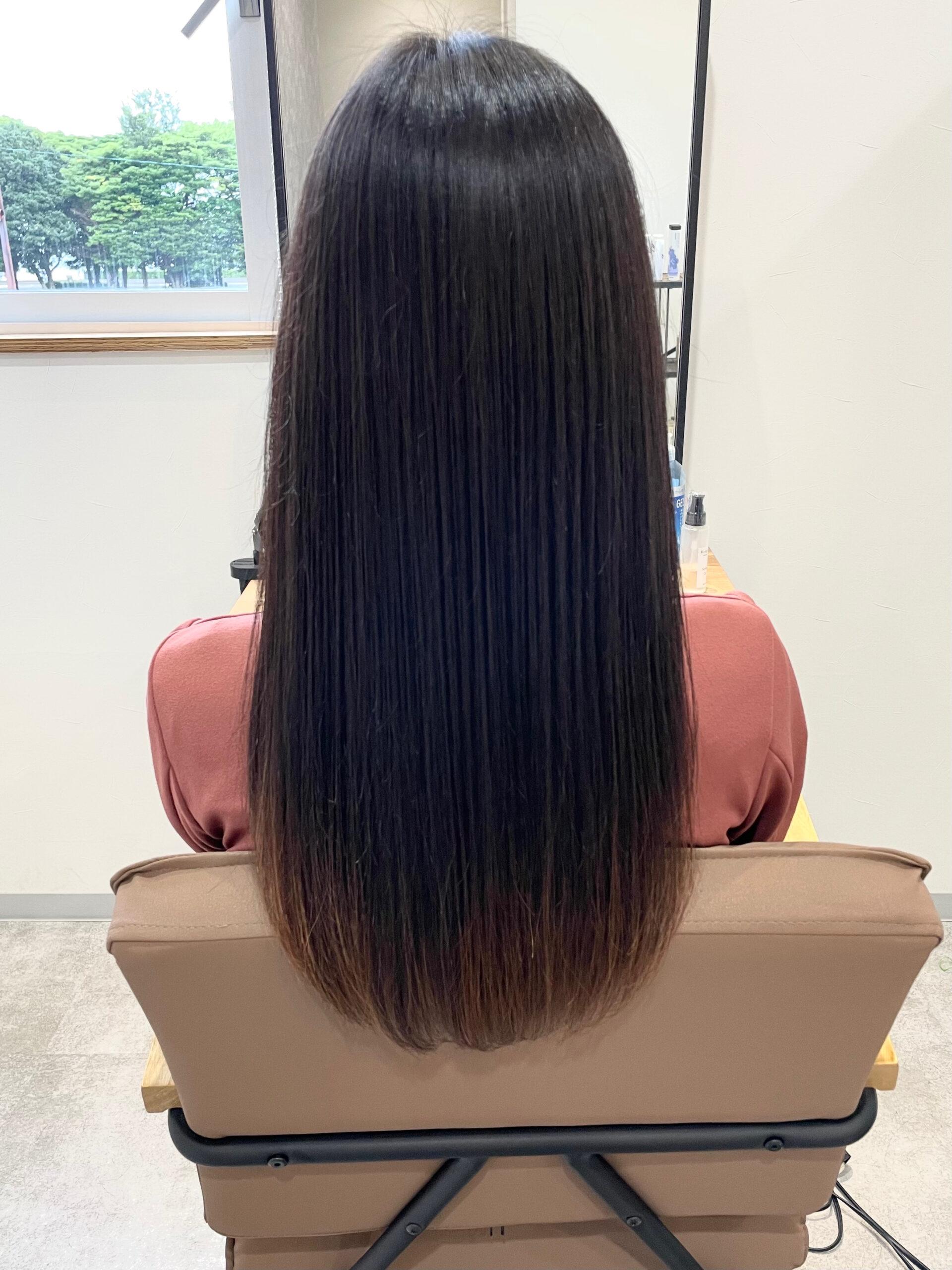 大分県別府市 髪質改善トリートメントでツヤツヤ、サラサラ、扱いやすい髪質に アフター