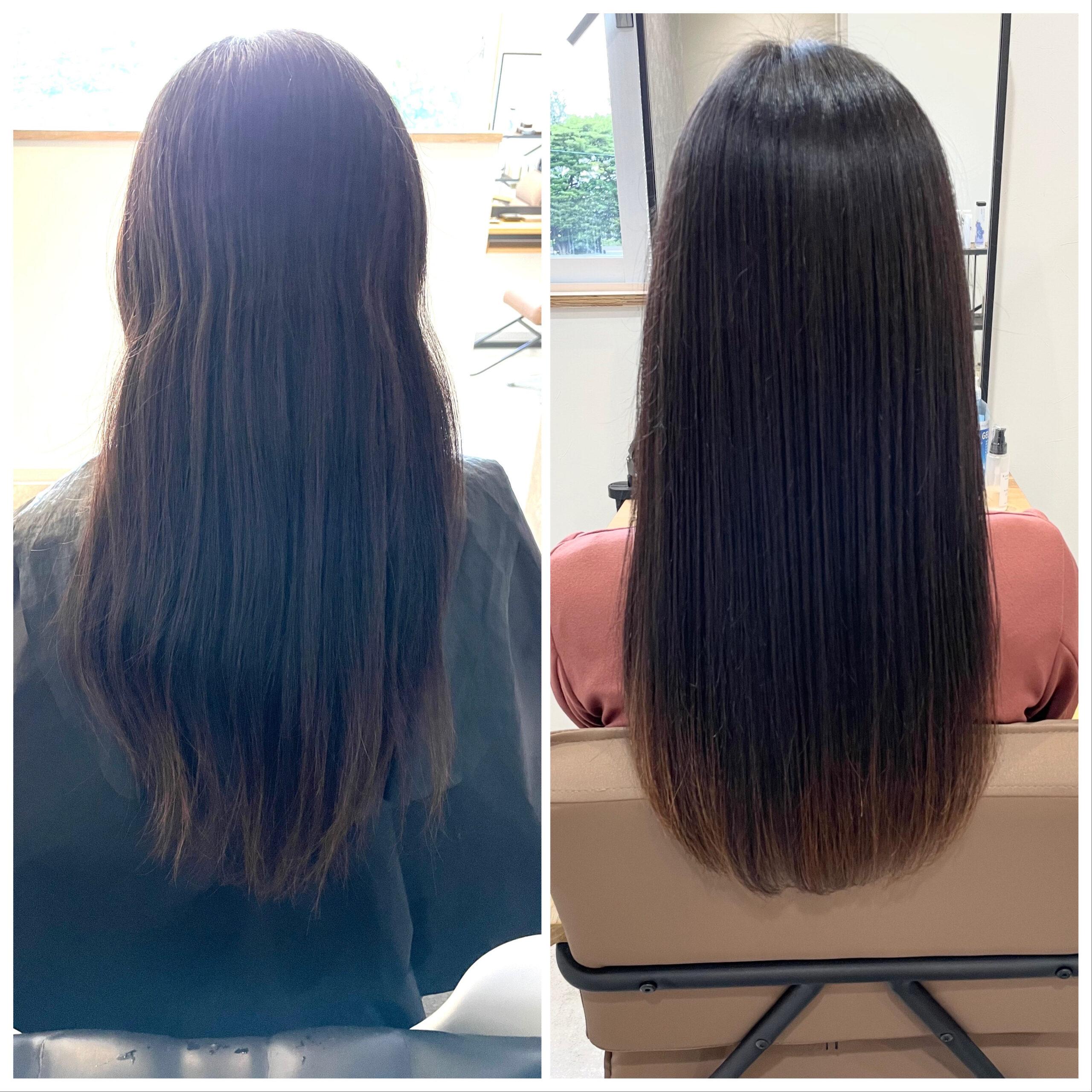 大分県別府市 髪質改善トリートメントでツヤツヤ、サラサラ、扱いやすい髪質に ビフォーアフター