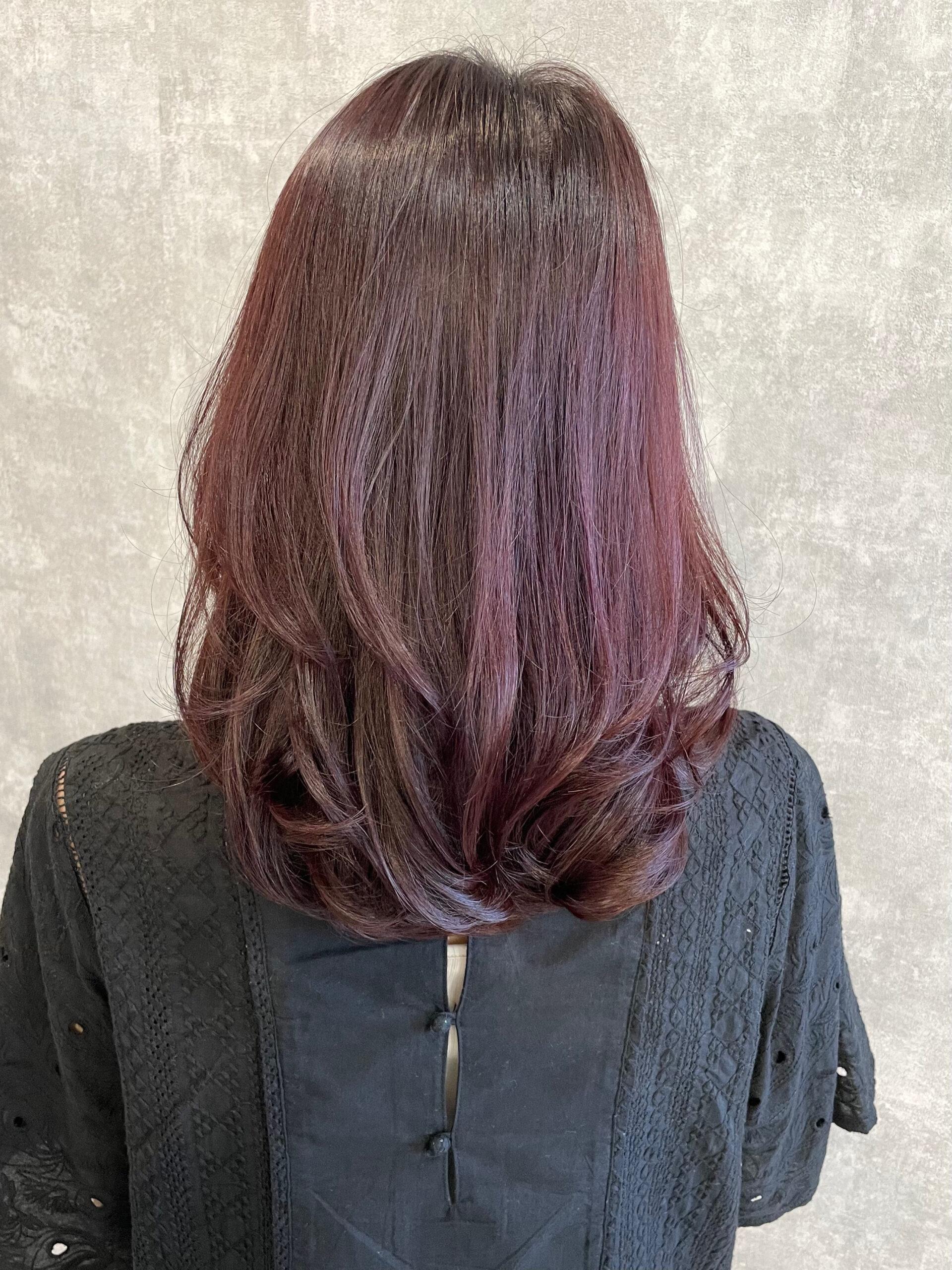 大分県別府市 大人の暖色系ヘアカラー『カシスピンク』髪質改善カラー アフター