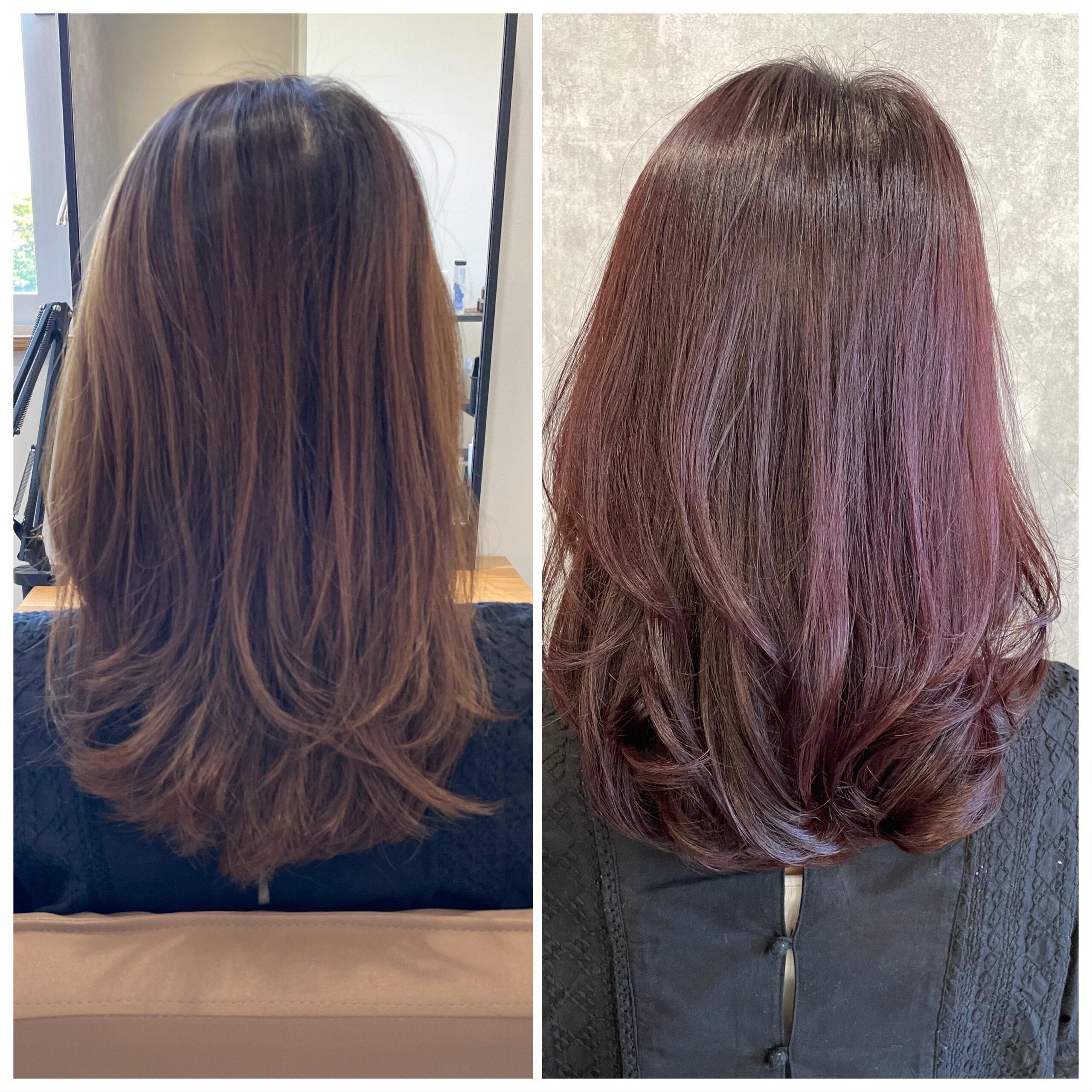 大分県別府市 大人の暖色系ヘアカラー『カシスピンク』髪質改善カラー ビフォーアフター