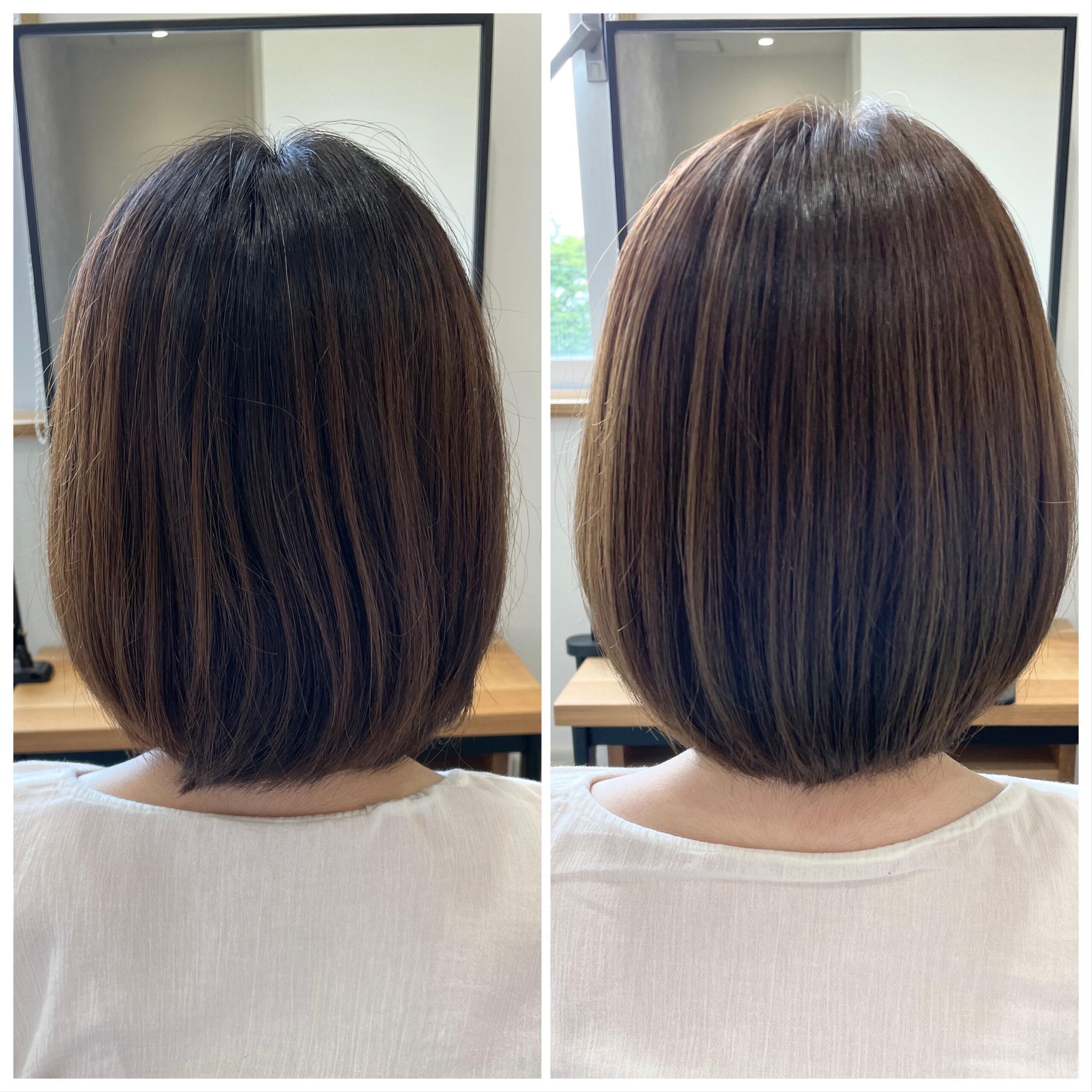 大分県別府市 透明感のある髪質改善艶髪カラー『ベージュ』 ビフォーアフター
