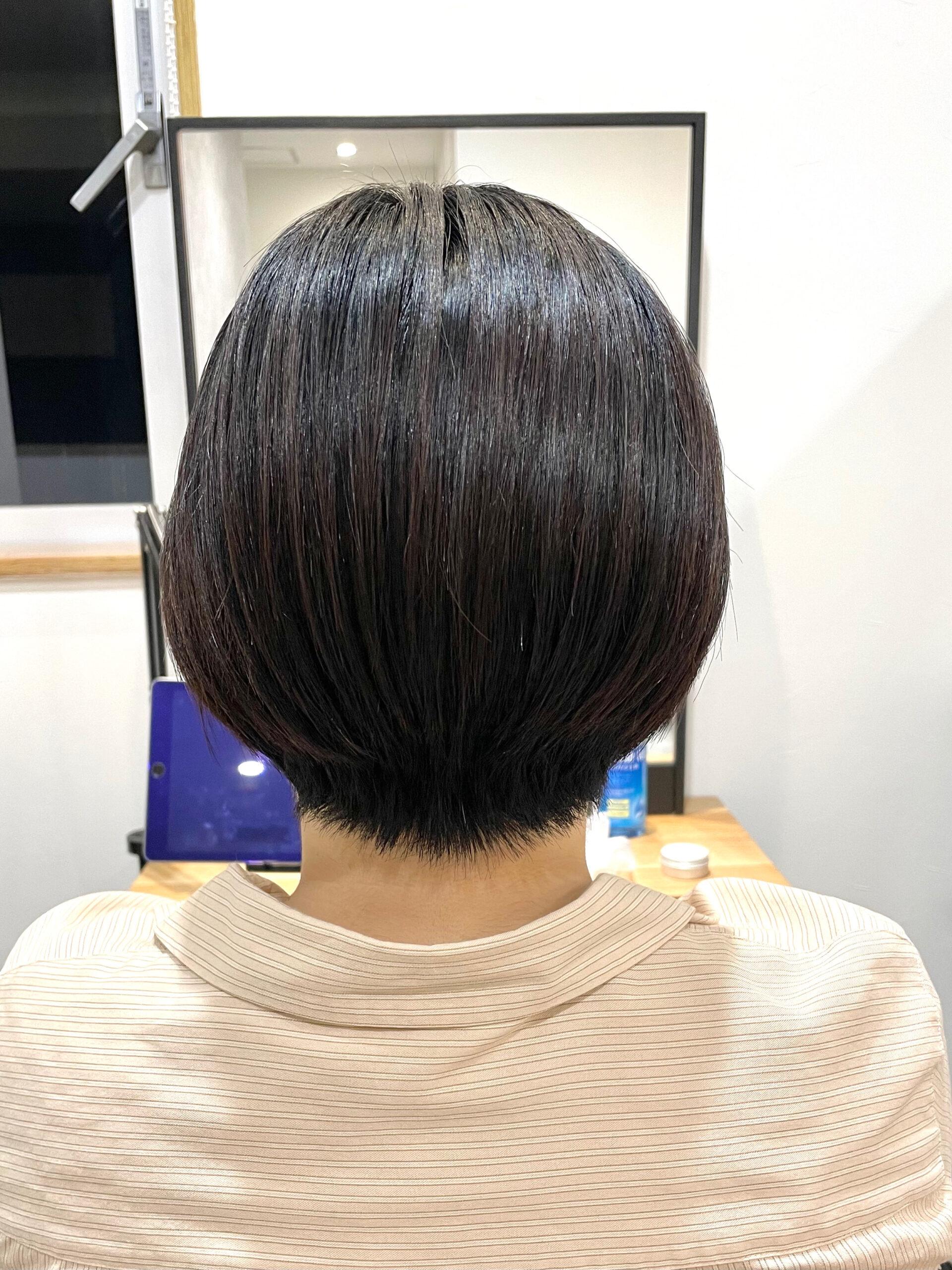 大分県別府市 髪の毛が多い、癖が強い、ボリュームが出るといった悩みがあっても弱酸性ストレートならショートヘアも可能です! アフター