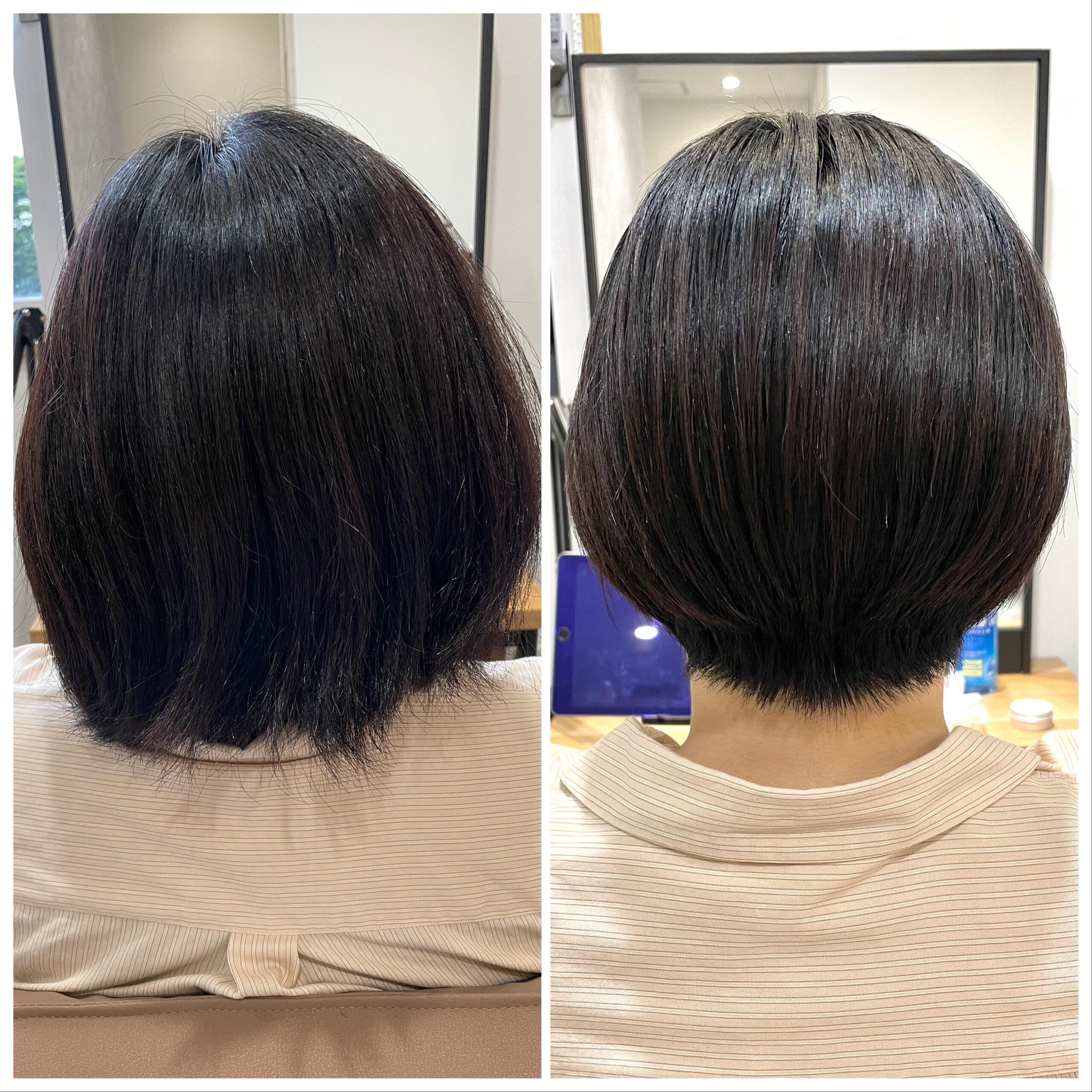 大分県別府市 髪の毛が多い、癖が強い、ボリュームが出るといった悩みがあっても弱酸性ストレートならショートヘアも可能です! ビフォーアフター