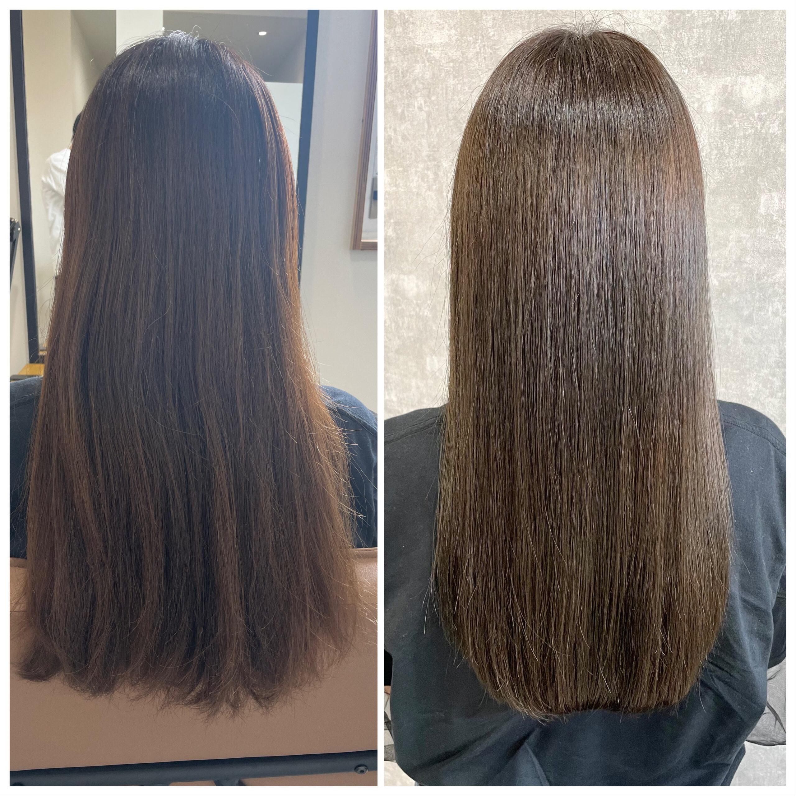 大分県別府市 髪質改善ツヤ髪ヘアカラー ビフォーアフター
