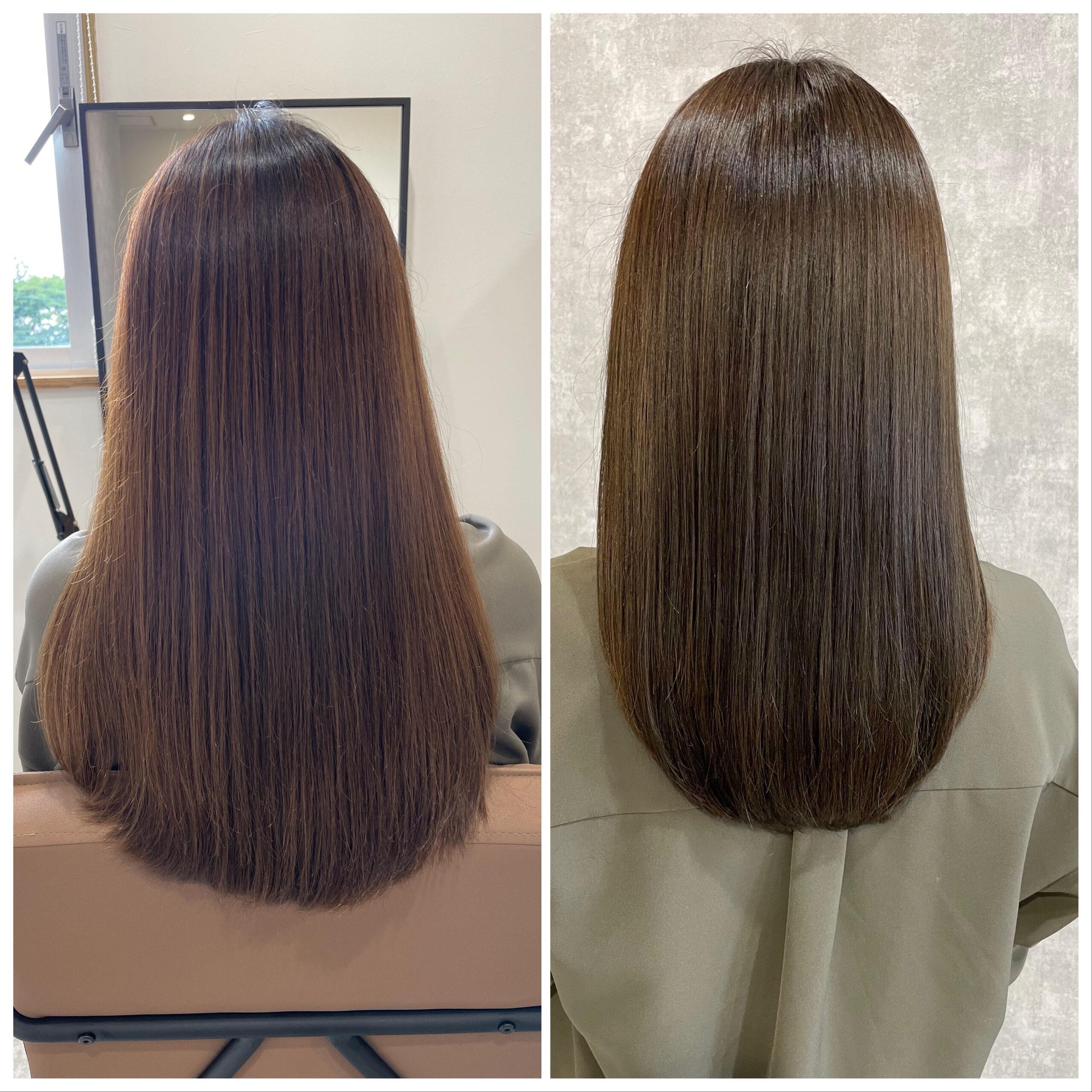 大分県別府市 新しくなった髪質改善トリートメントとカラーの組み合わせで艶髪カラー ビフォーアフター