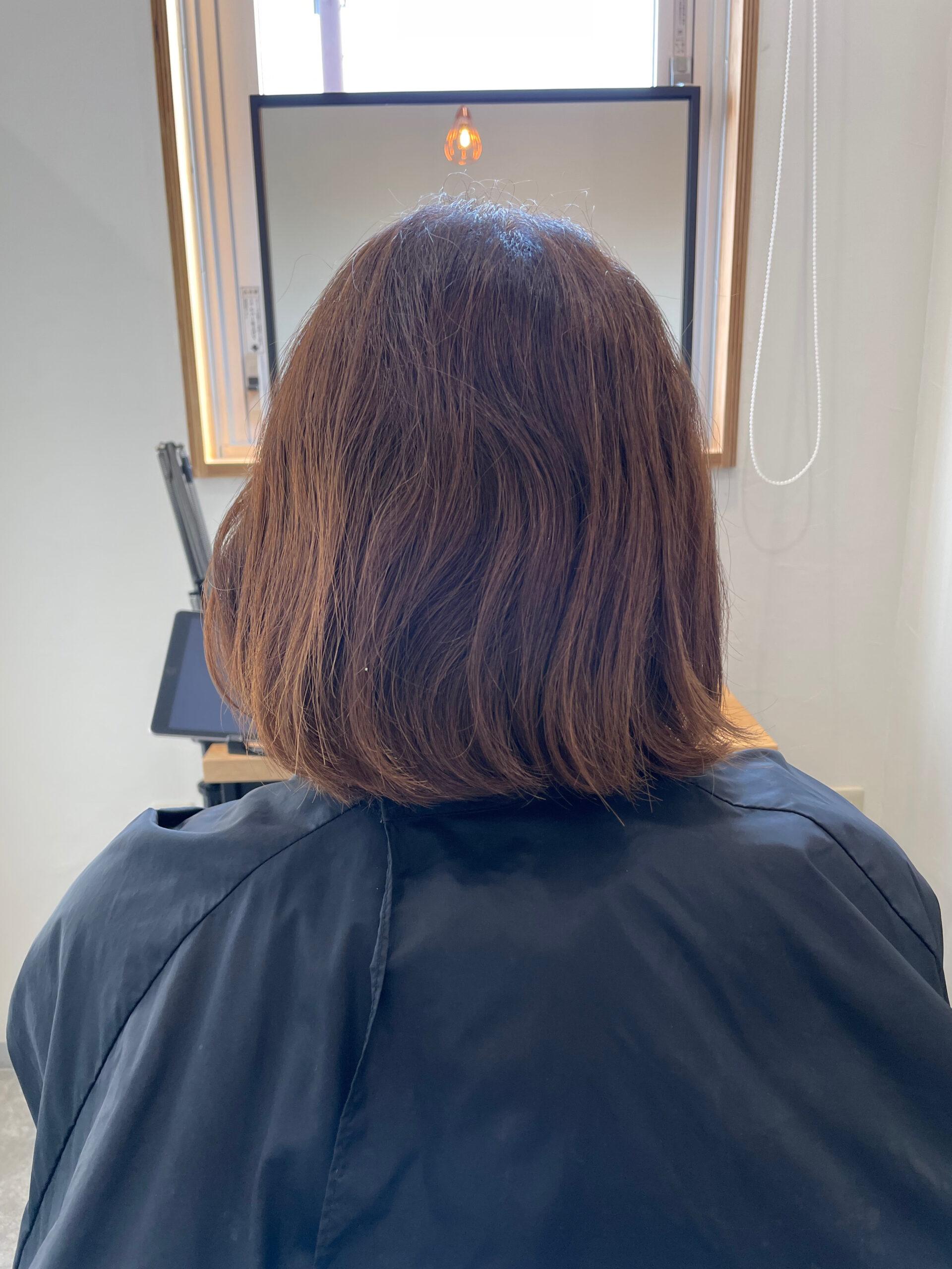 大分県別府市 髪質改善トリートメントでツヤ髪カラー ビフォー