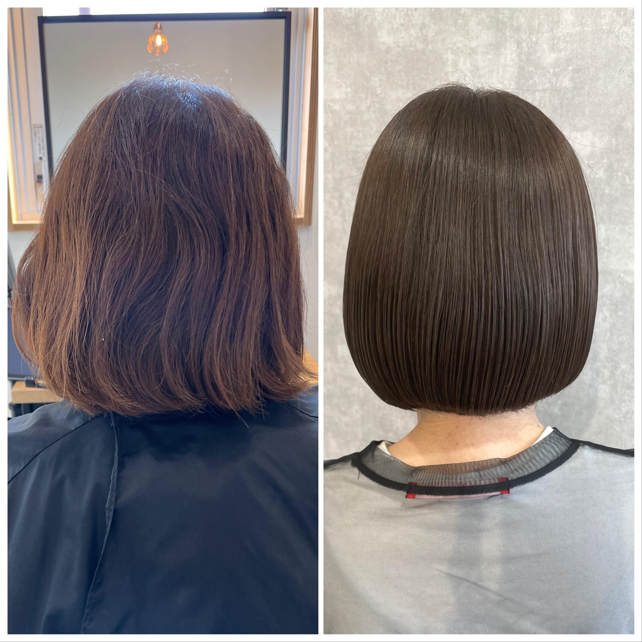大分県別府市 髪質改善トリートメントでツヤ髪カラー ビフォーアフター